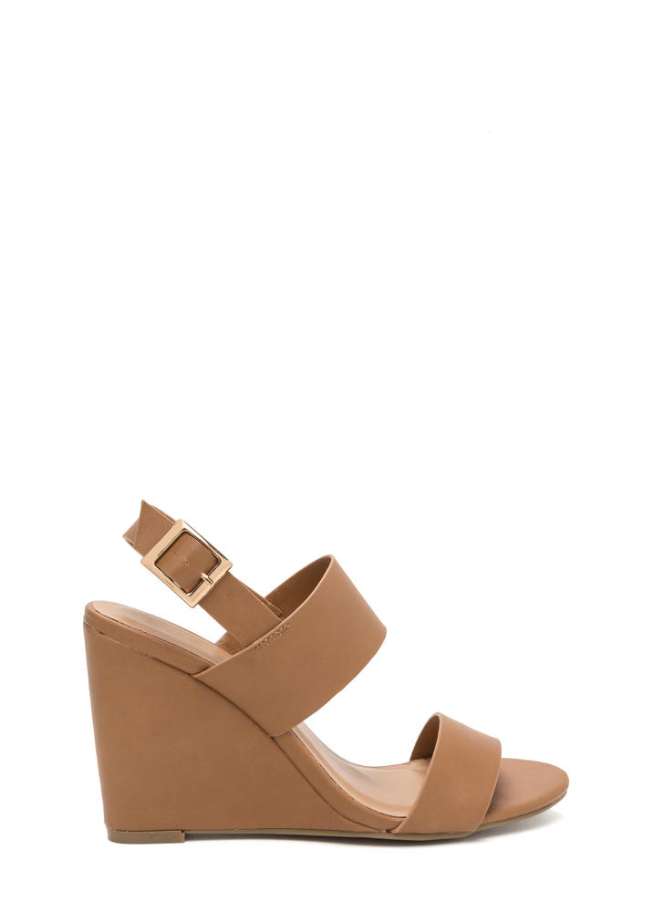 Simply Perfect Faux Leather Wedges TAN