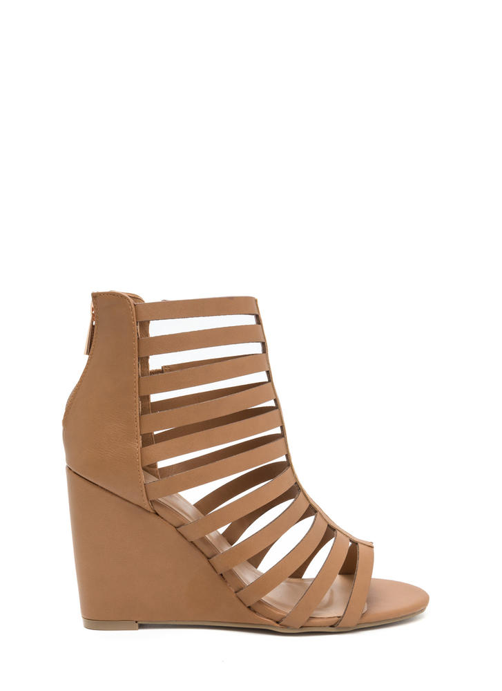 Turn Up The Drama Caged Wedges
