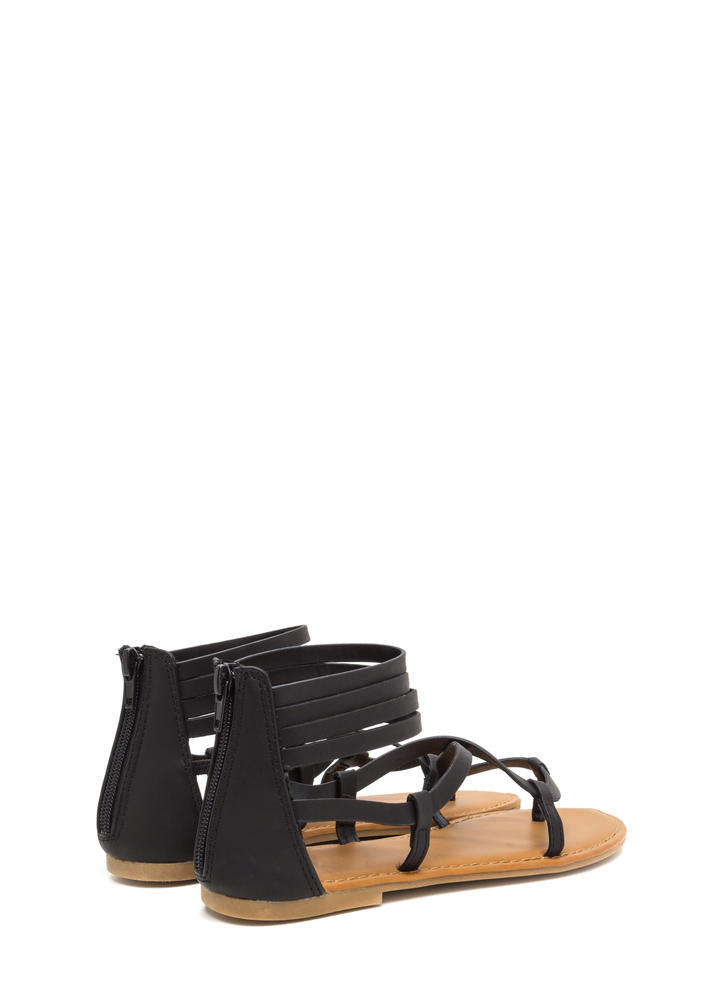 Gladiator Chic Strappy Caged Sandals BLACK