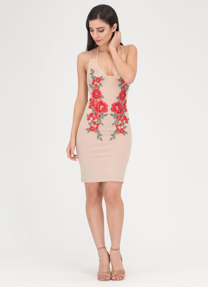 So It Rose Sheer Mesh Bodycon Minidress NUDE