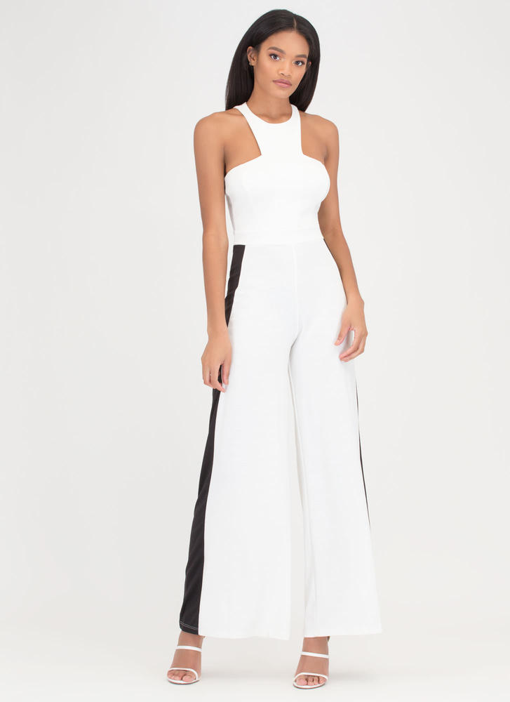 Compare 'N Contrast Palazzo Jumpsuit IVORYBLACK