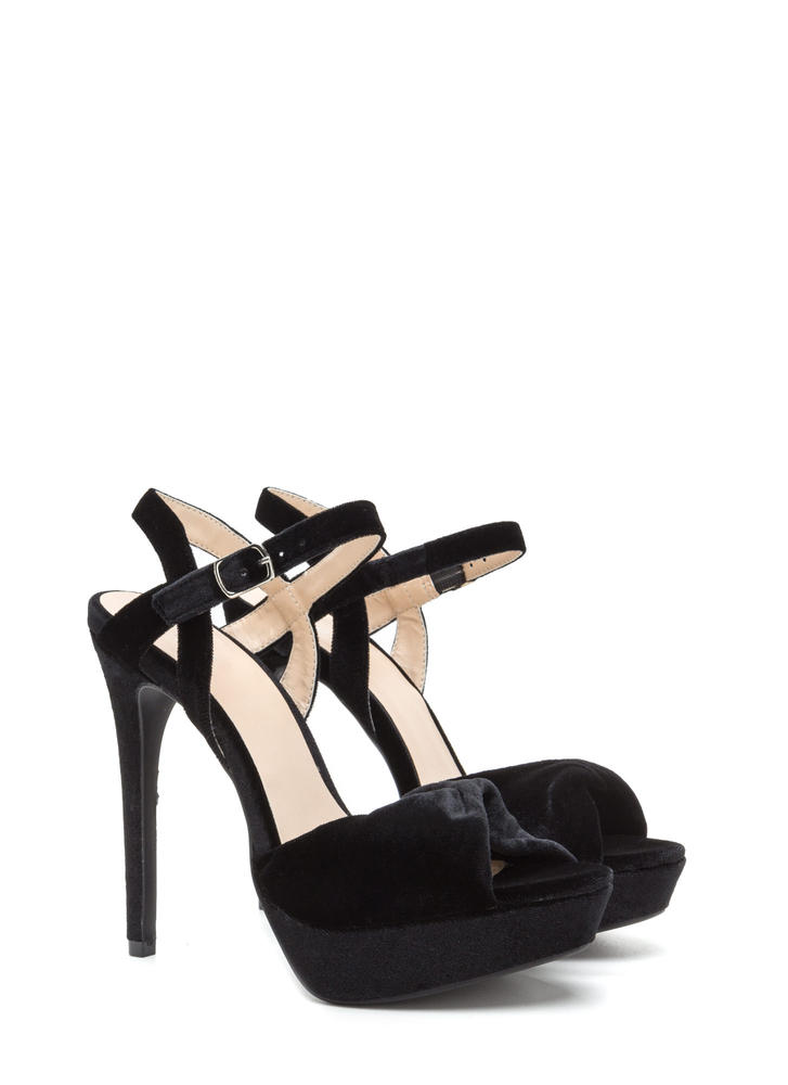 Plush Back Twisted Velvet Platform Heels BLACK