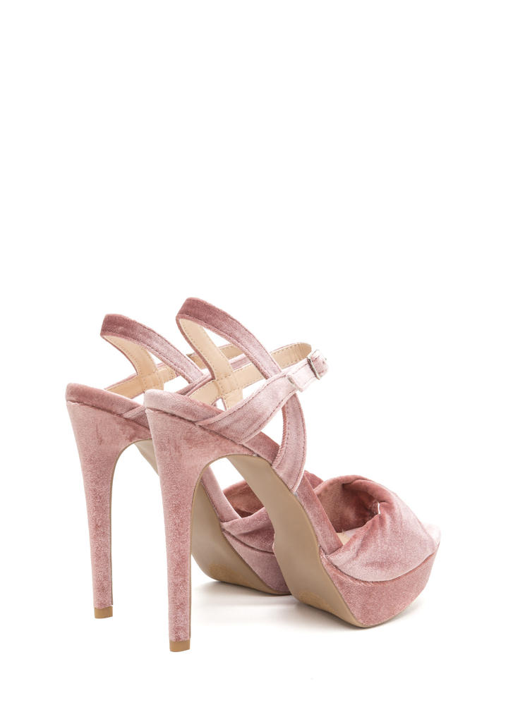 Plush Back Twisted Velvet Platform Heels BLUSH