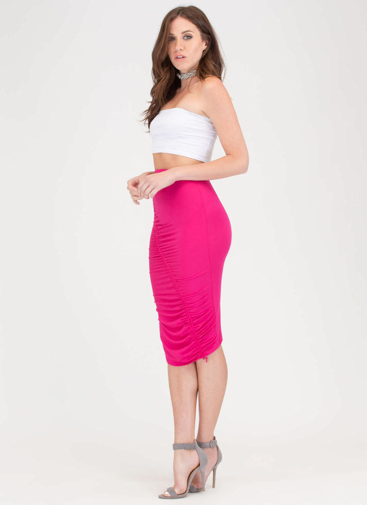 Ruche Into Things Drawstring Skirt FUCHSIA