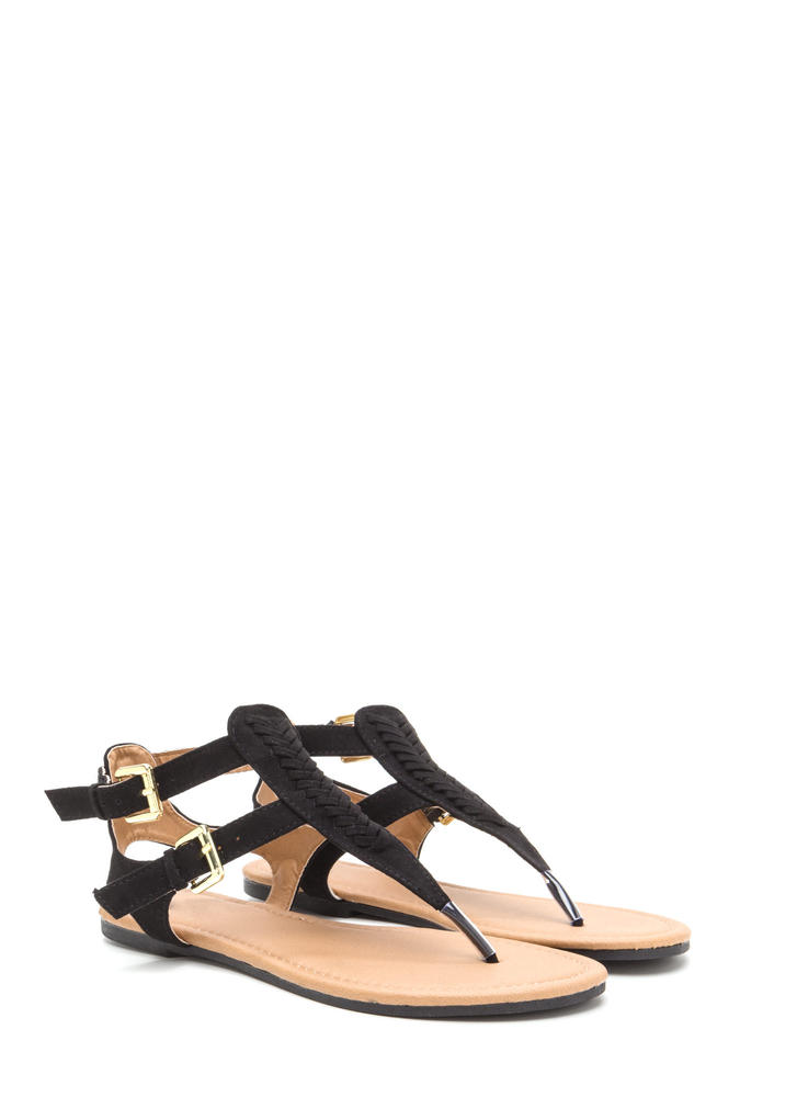 Braid My Way Faux Suede T-Strap Sandals BLACK