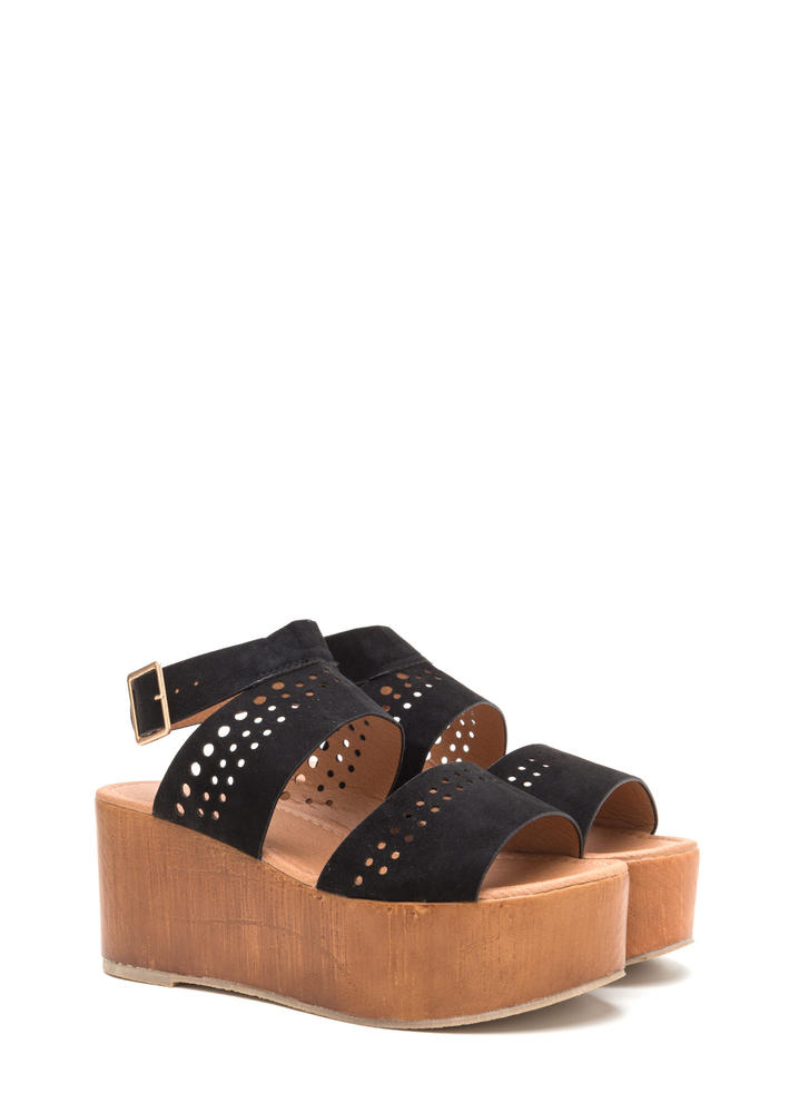 Friend Circle Cut-Out Platform Wedges BLACK
