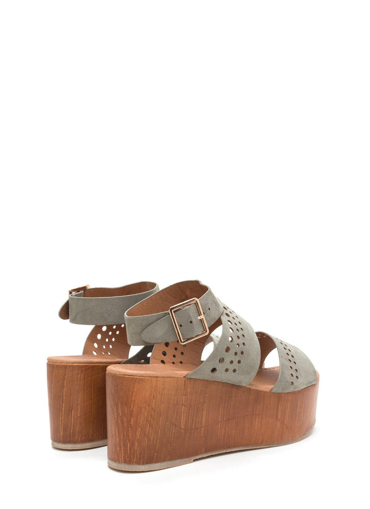 Friend Circle Cut-Out Platform Wedges KHAKI