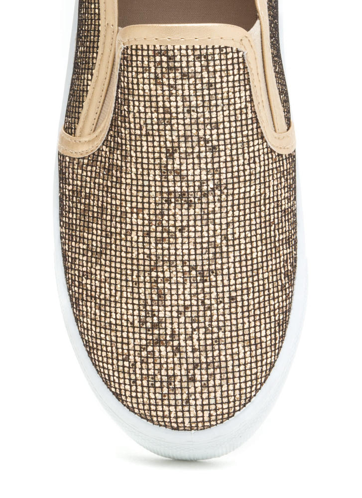 Casual 'N Glam Sparkly Slip-On Sneakers CHAMPAGNE