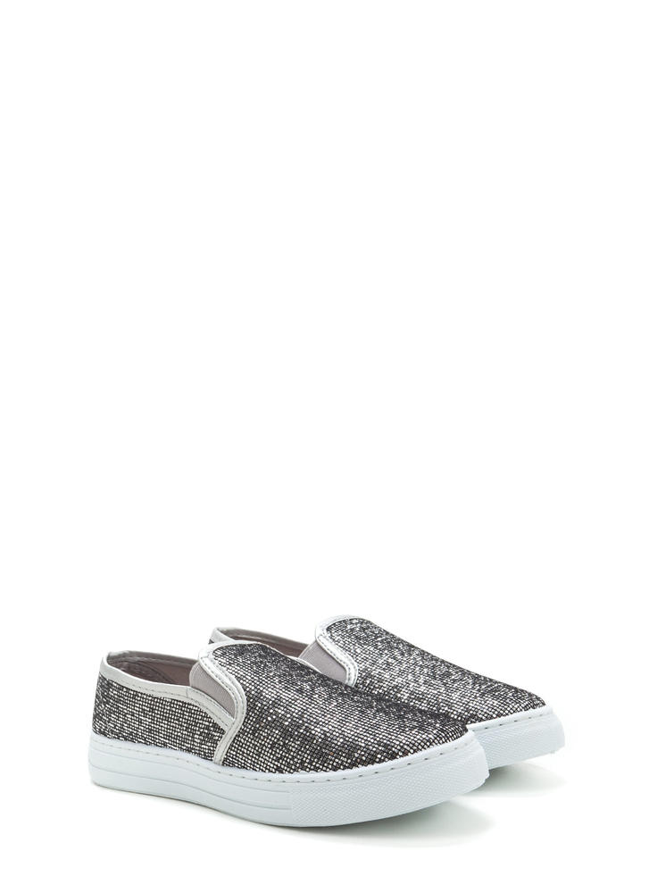 Casual 'N Glam Sparkly Slip-On Sneakers PEWTER