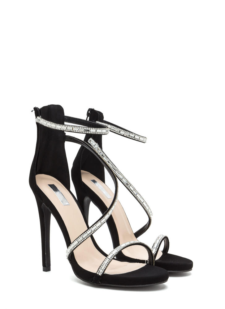 Glam Evening Strappy Jeweled Heels BLACK