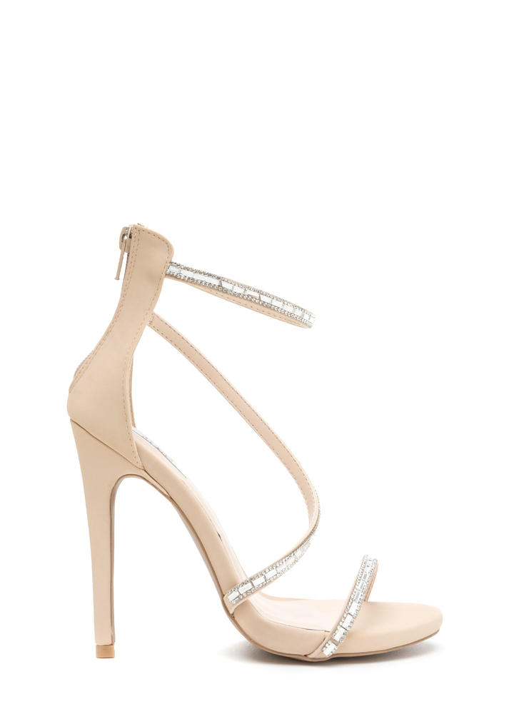 Glam Evening Strappy Jeweled Heels NUDE