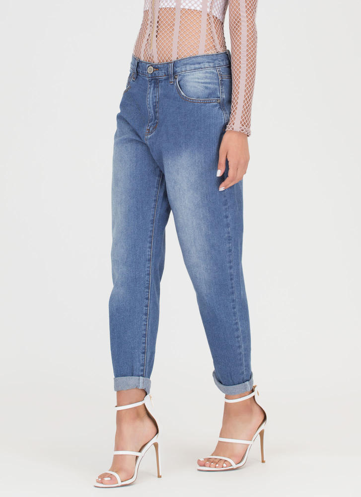 Fly Street Style Washed Jeans BLUE