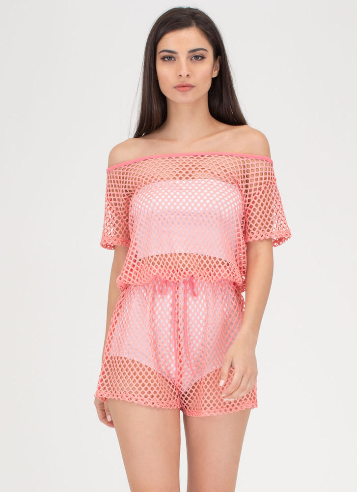 Safety Net Off-Shoulder Sheer Romper CORAL
