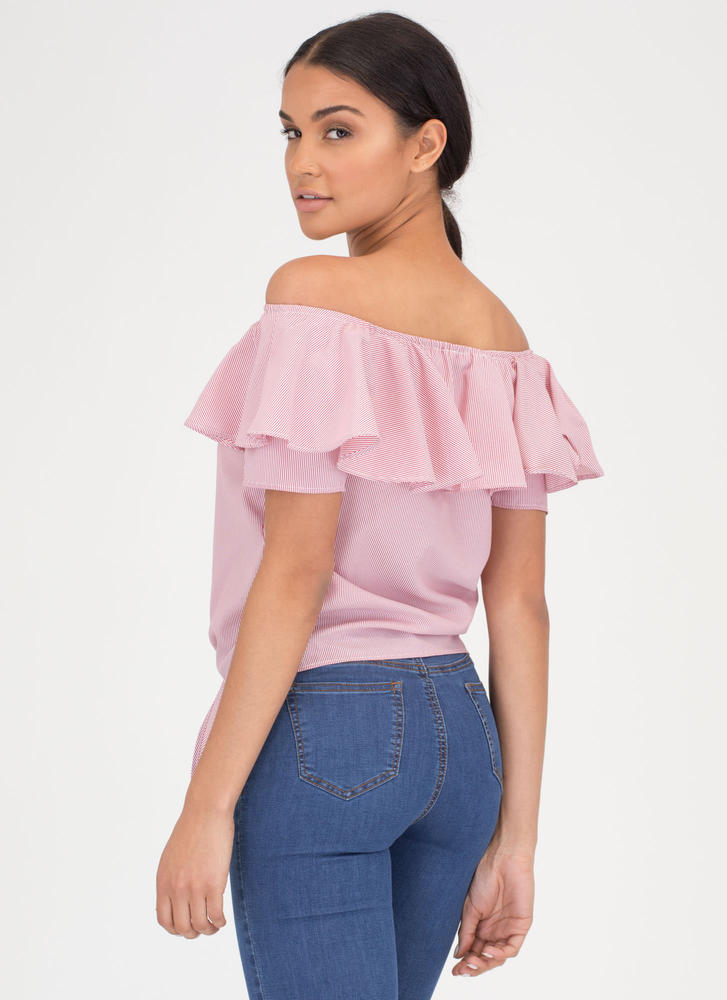 Tie Game Rosy Off-Shoulder Blouse RED