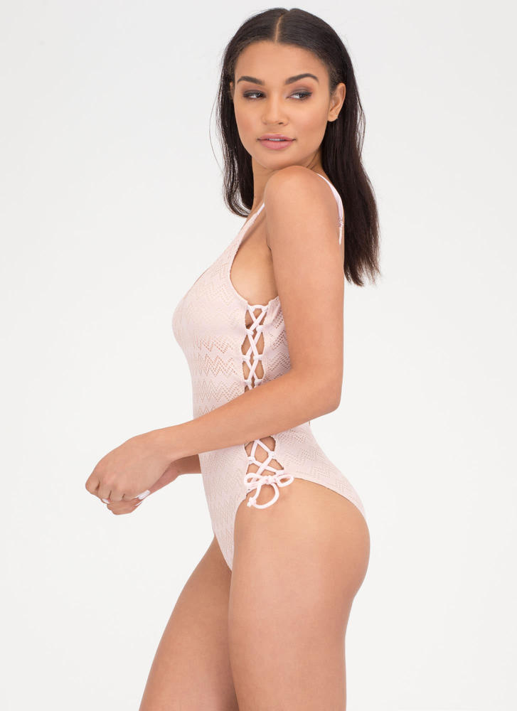 Play Crochet Lace-Up One-Piece Swimsuit PINK (Final Sale)