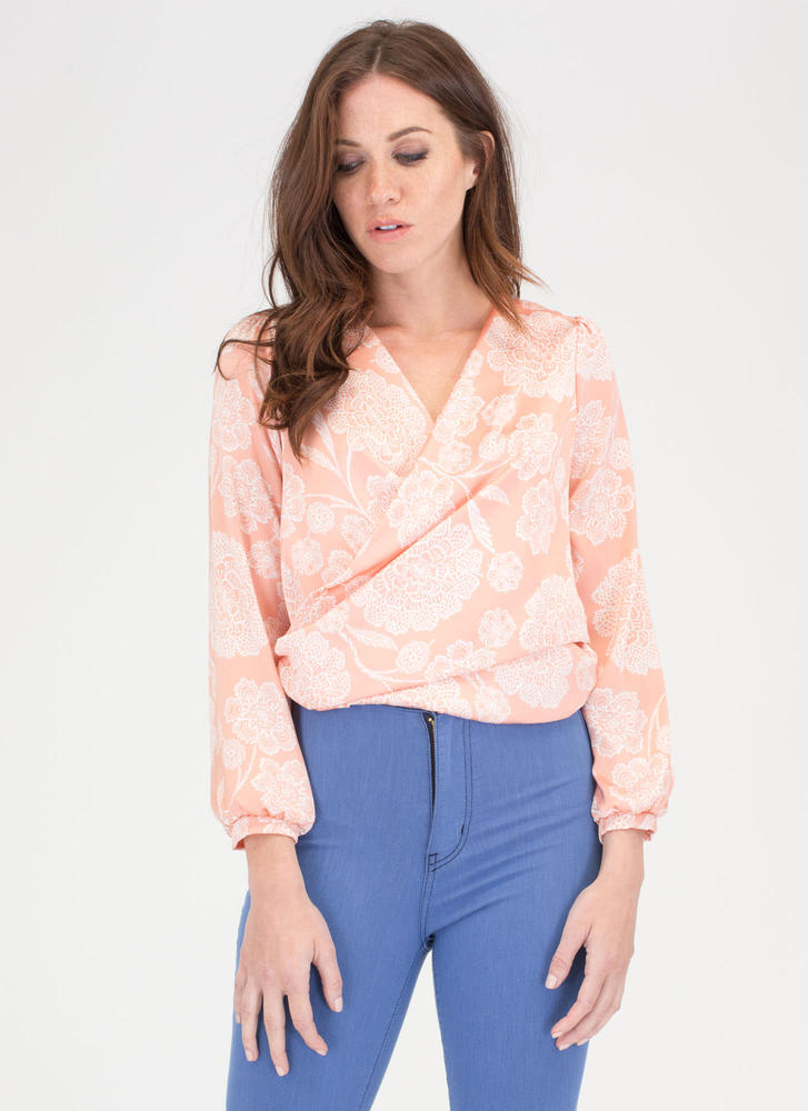Garden Party Charm Tied Floral Top