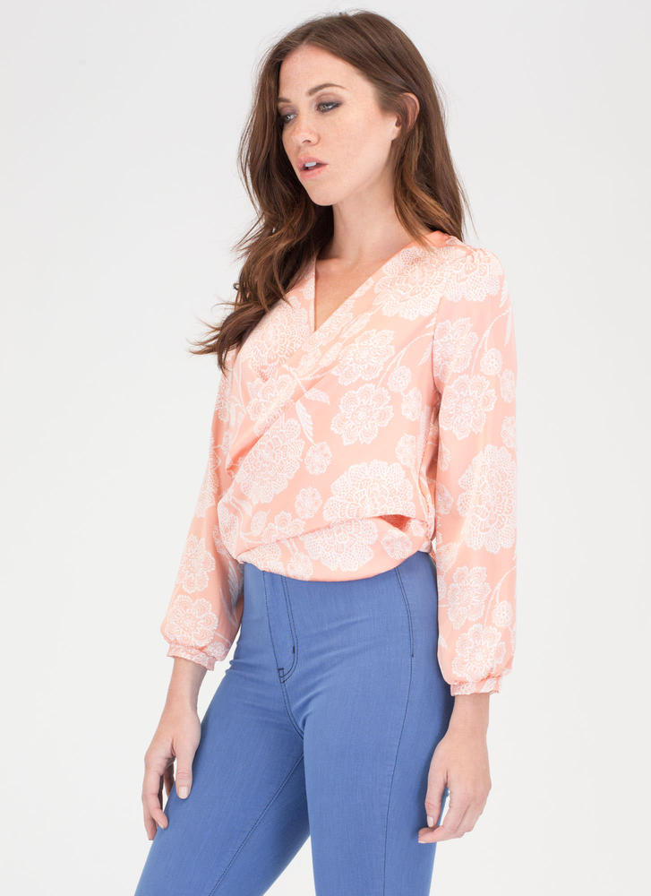 Garden Party Charm Tied Floral Top BLUSH