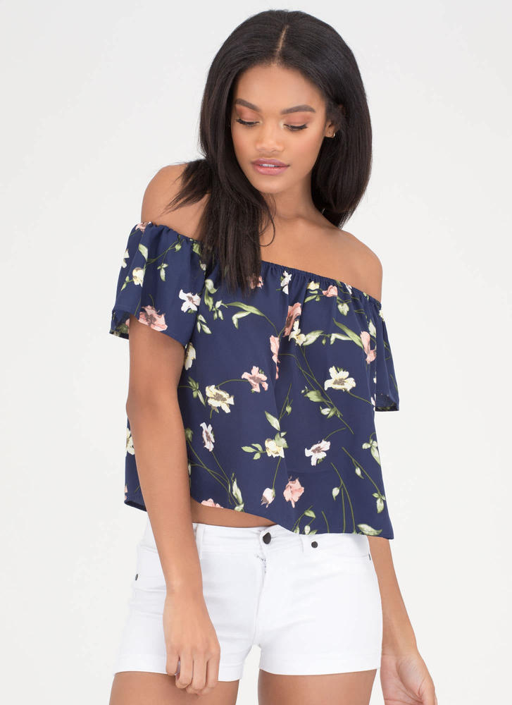 Pick Flowers Off-Shoulder Floral Top