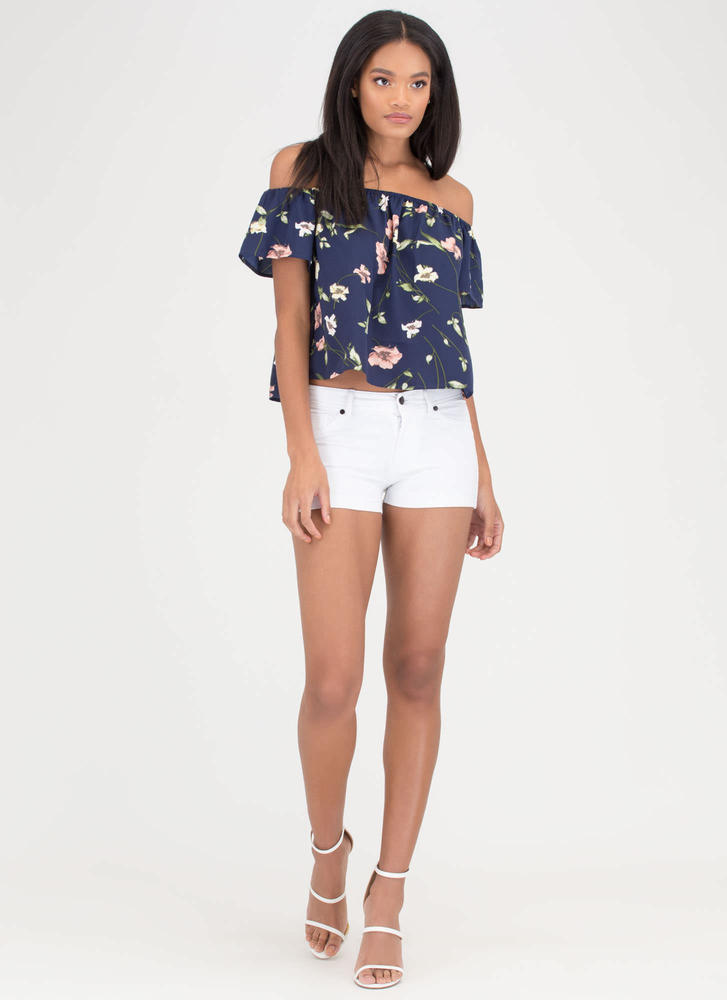 Pick Flowers Off-Shoulder Floral Top NAVY