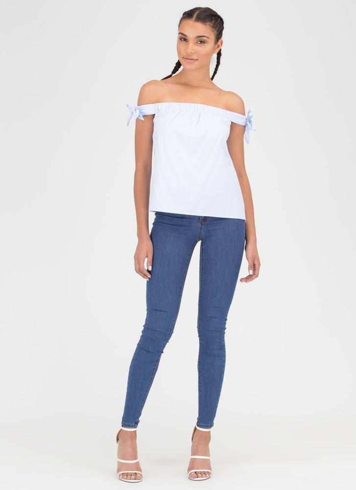 Bow On Then Flared Off-Shoulder Top BLUE