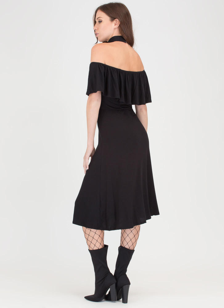 Summer Breeze Flowy Off-Shoulder Dress BLACK