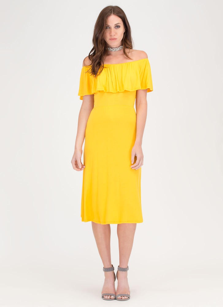 Summer Breeze Flowy Off-Shoulder Dress YELLOW