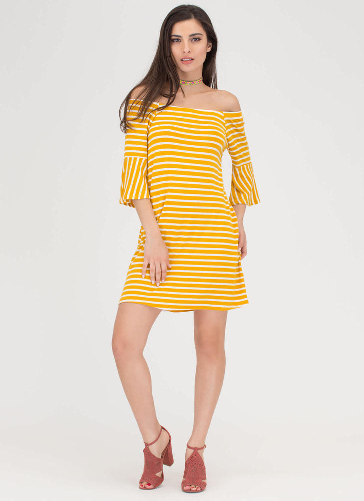 Make Great Stripes Off-Shoulder Dress MUSTARD