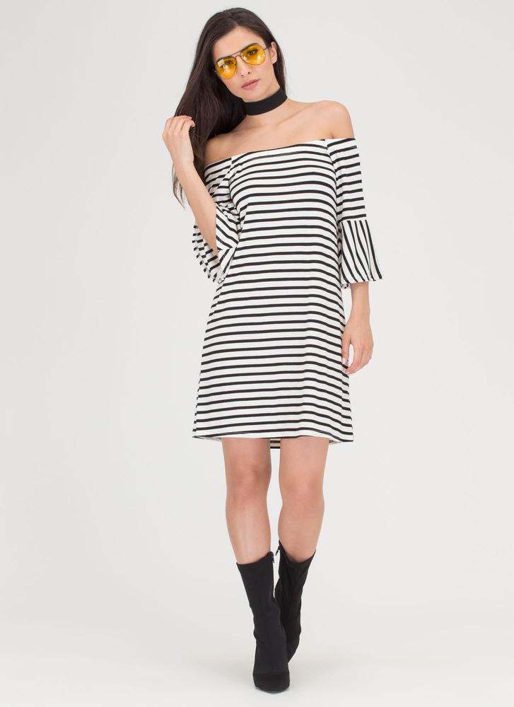 Make Great Stripes Off-Shoulder Dress WHITE