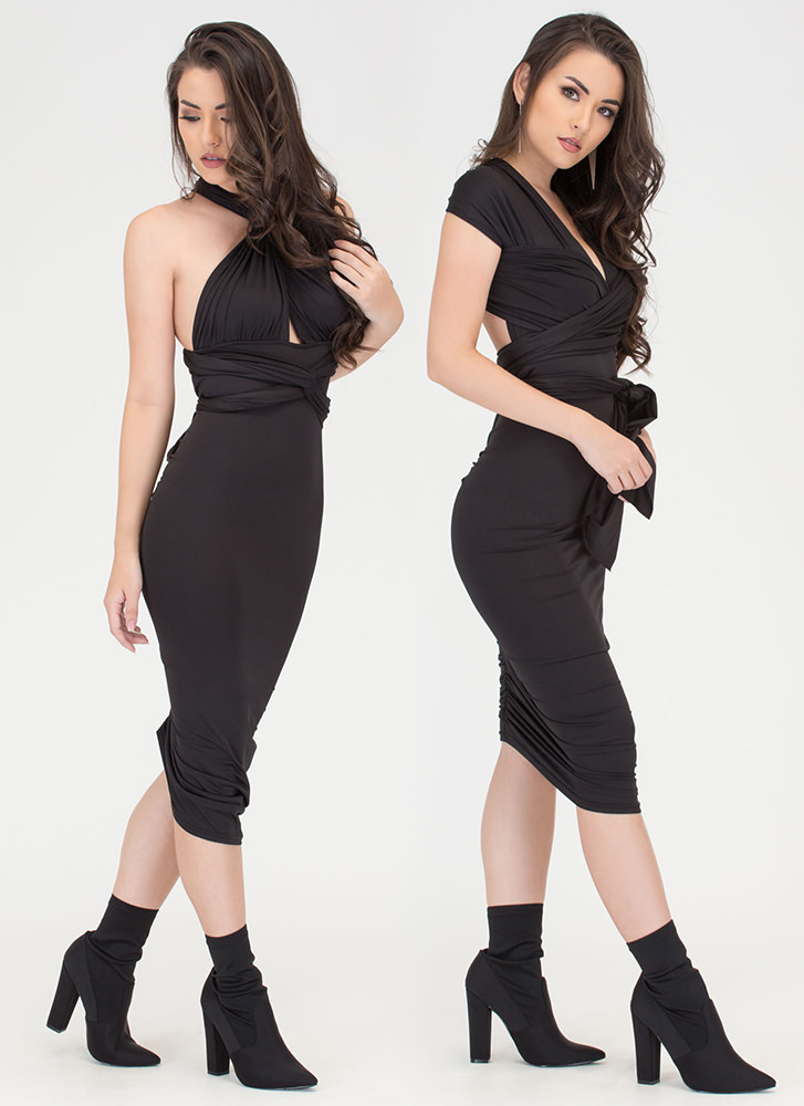 My Way Convertible Ruched Bodycon Dress BLACK