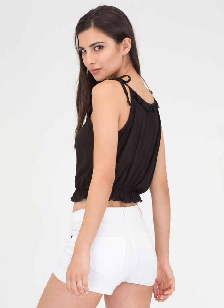 Frill Seeker Ruffled Tied Crop Top BLACK