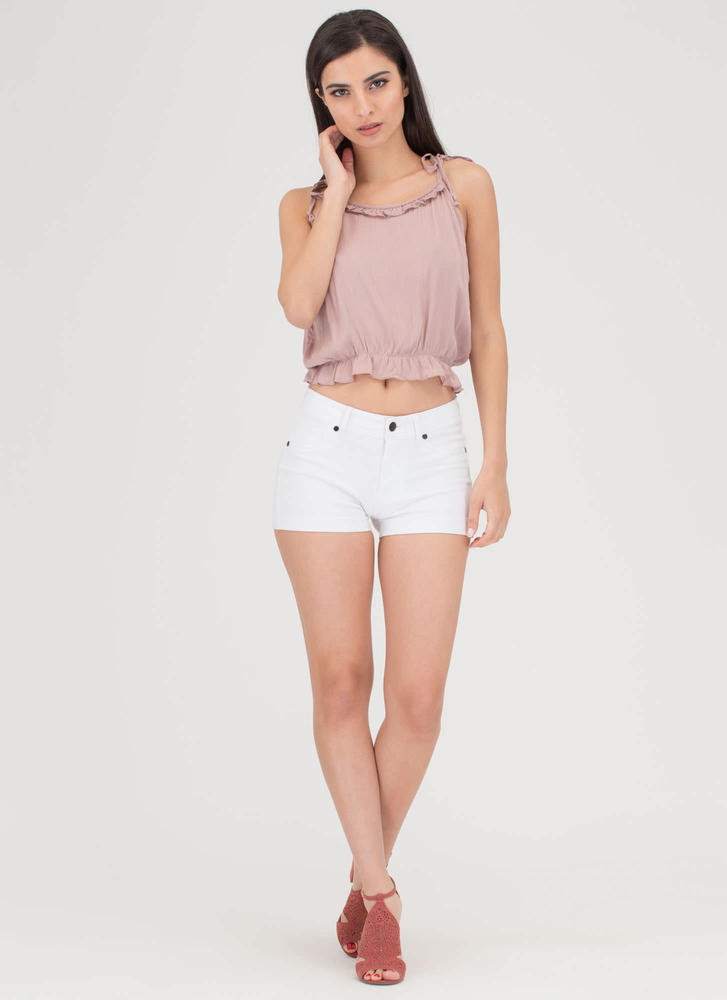 Frill Seeker Ruffled Tied Crop Top MAUVE