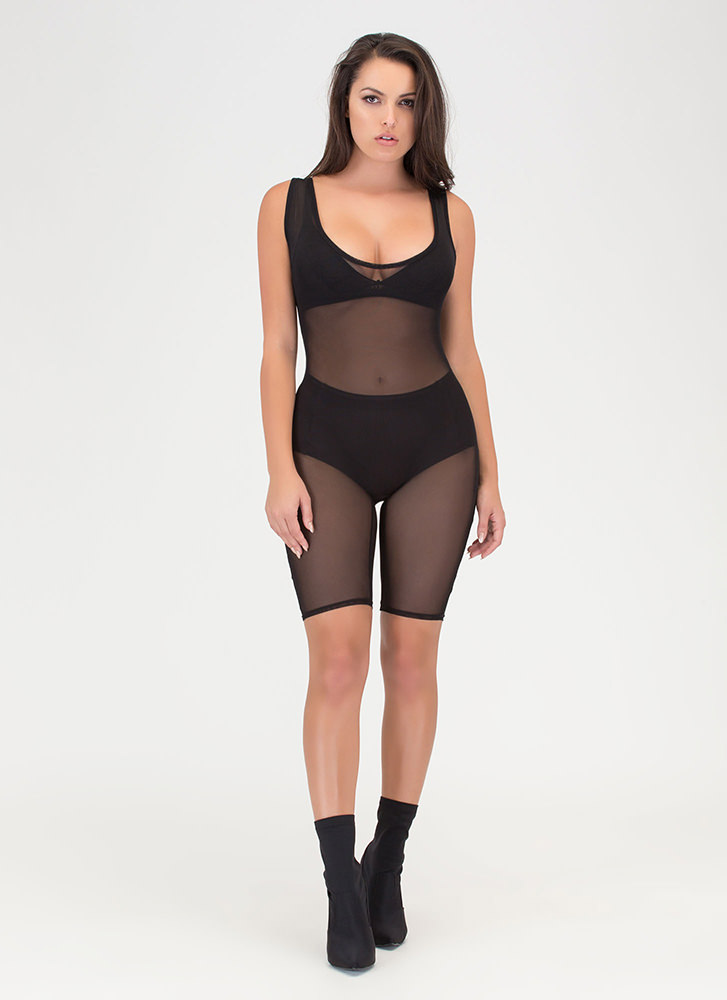 That's For Sheer Mesh Capri Jumpsuit BLACK