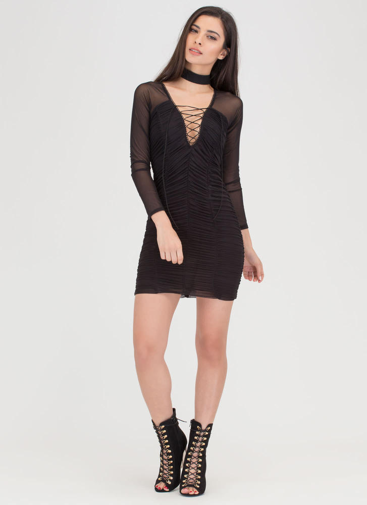 Ruche By Sheer Lace-Up Minidress BLACK
