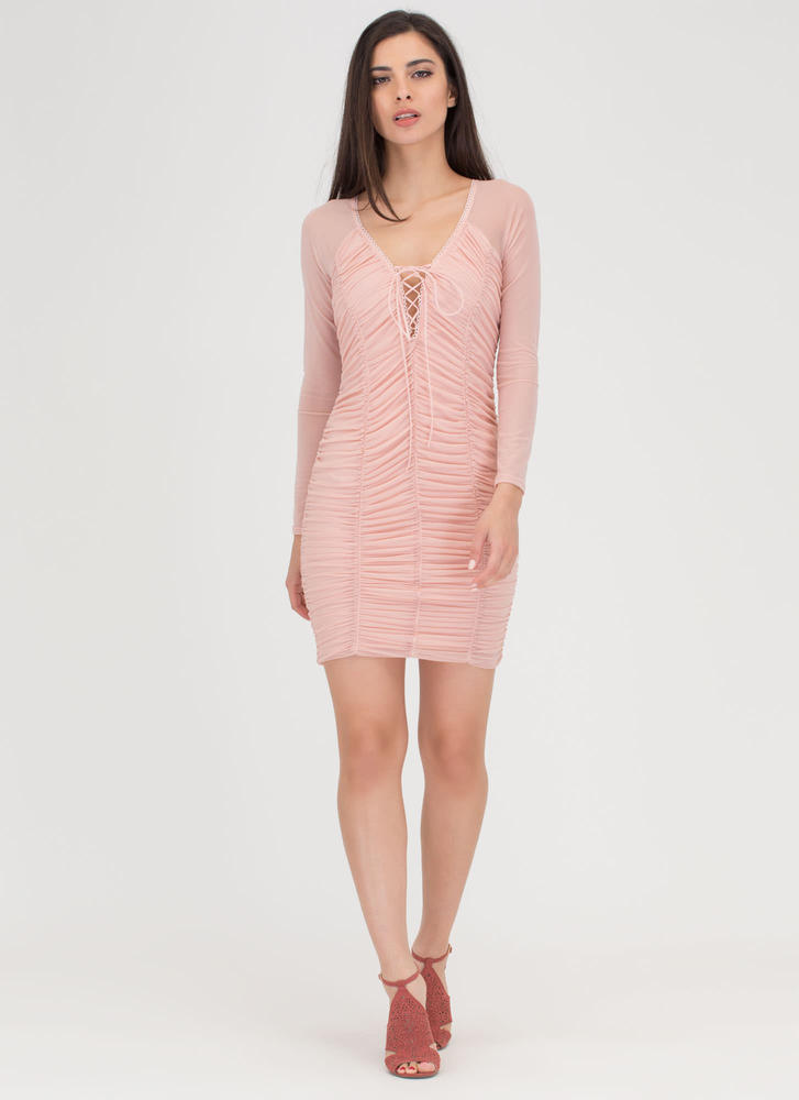 Ruche By Sheer Lace-Up Minidress PINK