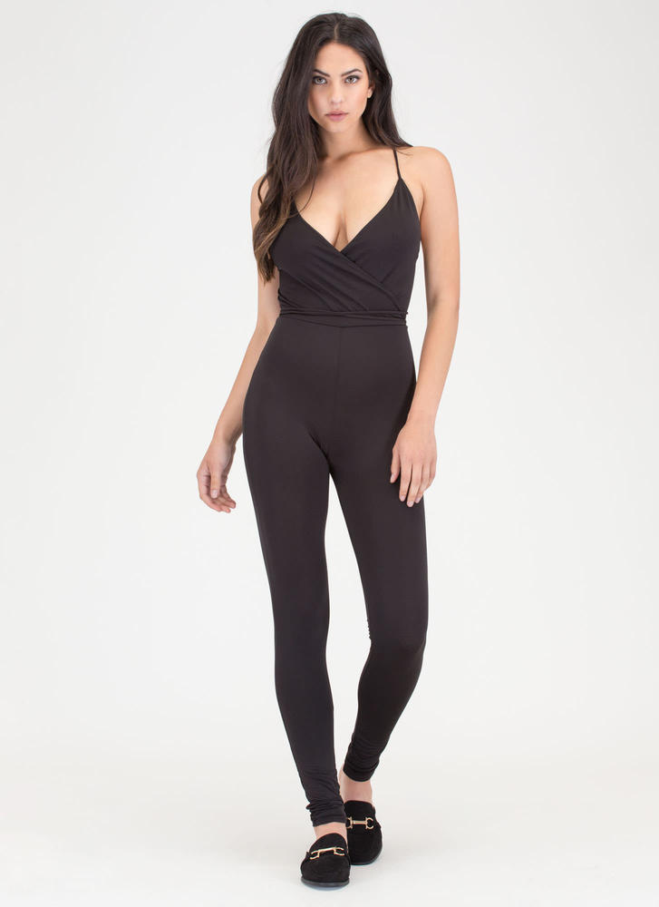 Fancy Feeling Plunging Tied Jumpsuit