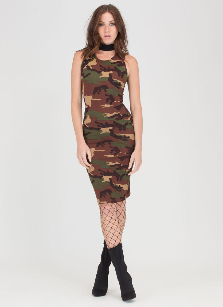 Cute In Camo Sleeveless Midi Dress CAMOUFLAGE