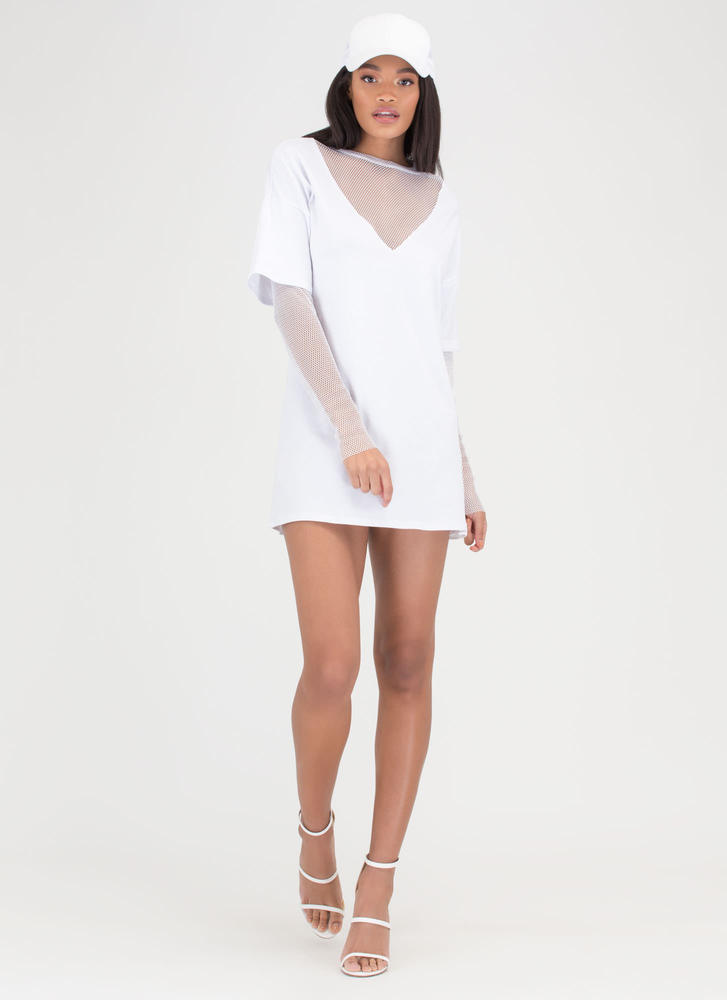 Communication Network Layered Dress WHITE