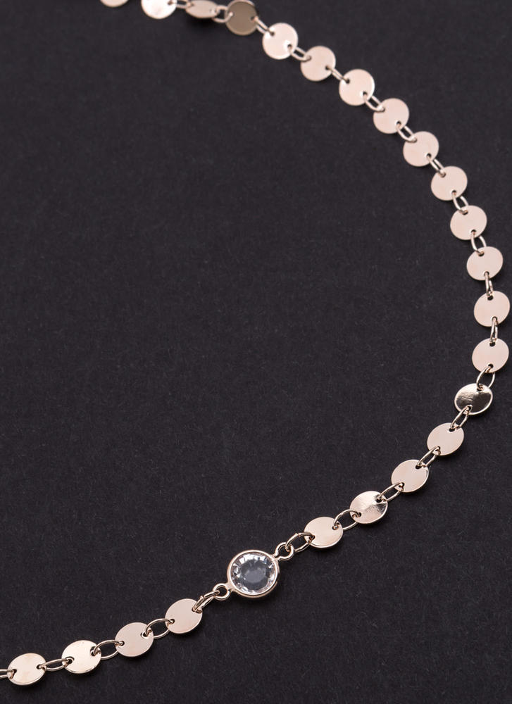 Crystal Clear Paillette Chain Choker ROSEGOLD