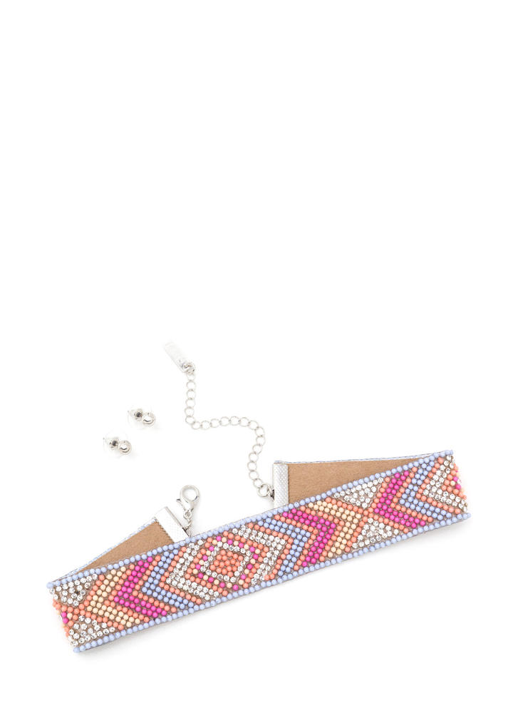 Southwest Charm Beaded Choker Set LTBLUEMULTI