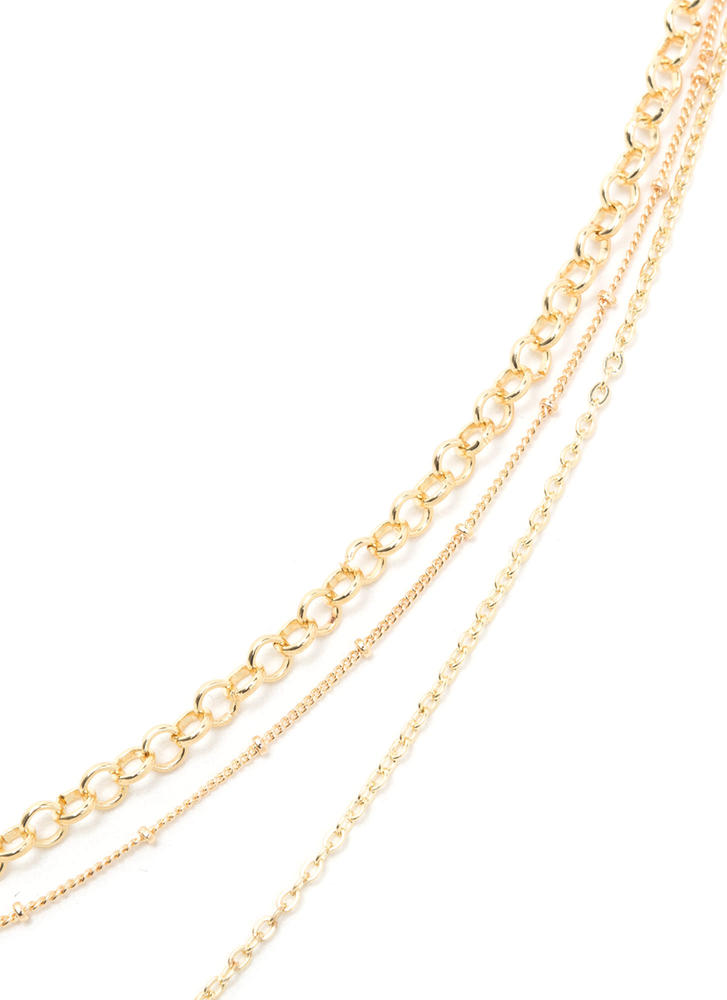 Dainty Bauble Layered Chain Necklace GOLD