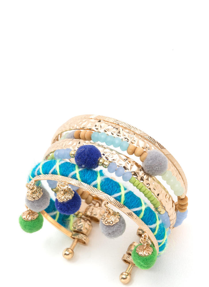 Boho Vibes Textured Stacked Cuff BLUEGOLD