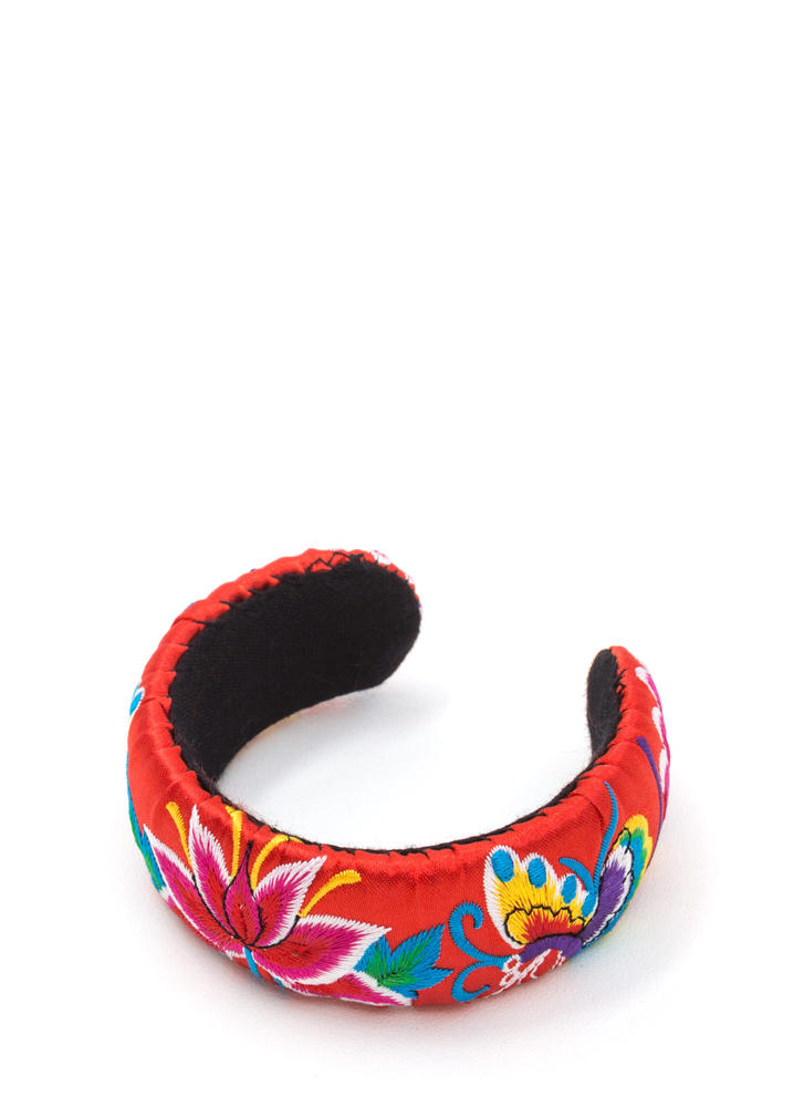 Bali Trip Wide Embroidered Cuff