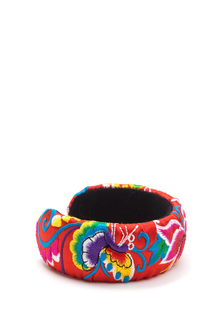 Bali Trip Wide Embroidered Cuff RED