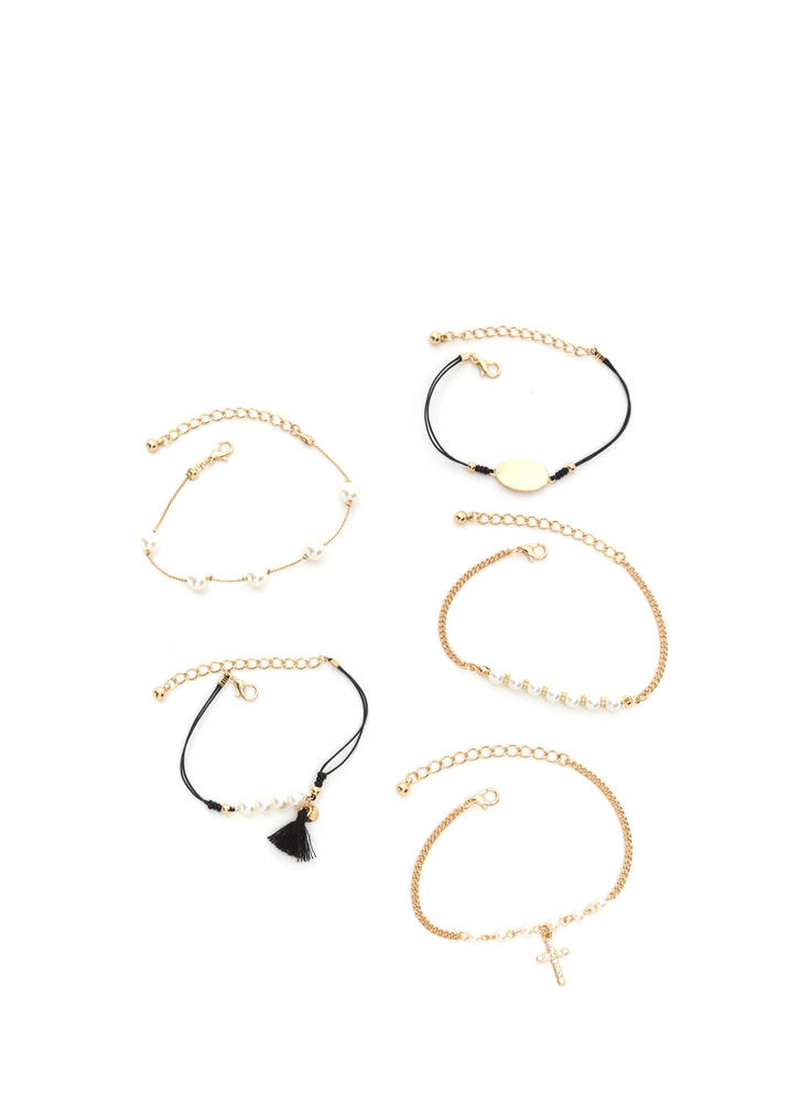 Diving For Pearls Bracelet Set GOLDBLACK