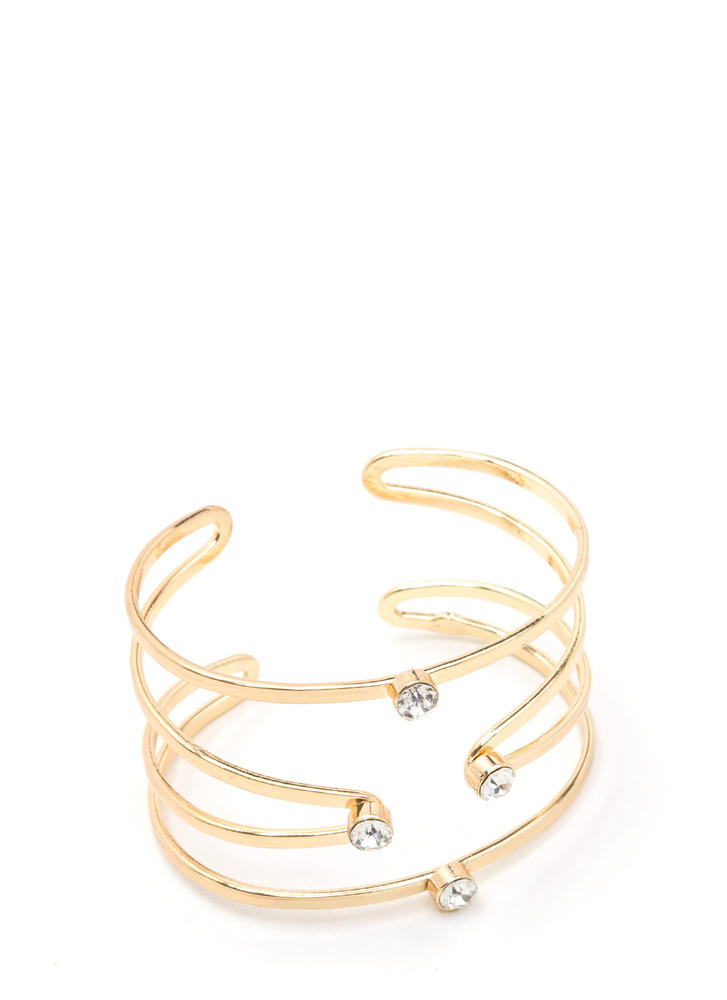 Gilded Statement Jeweled Caged Cuff GOLD