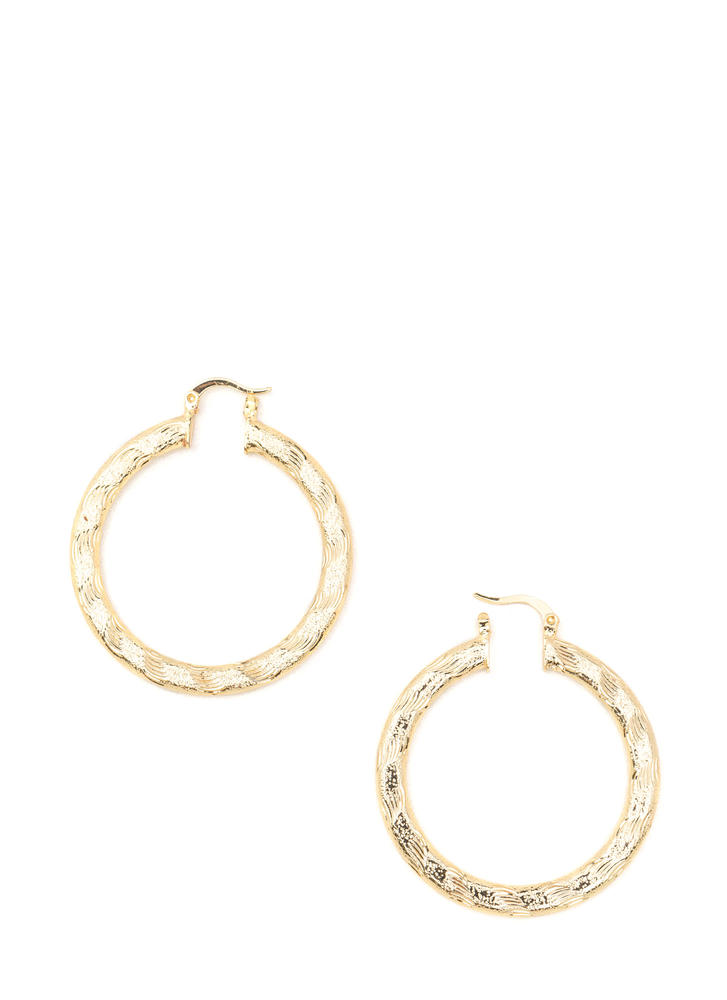 Chic Glimmer Textured Hoop Earrings