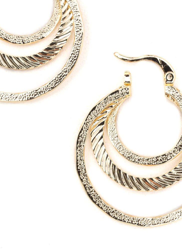 Glow For It Glitzy Layered Hoop Earrings GOLD