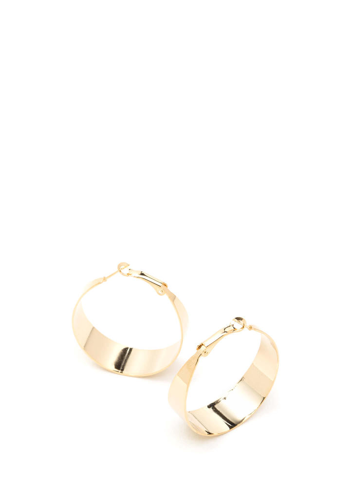 Bold Choice Shiny Hoop Earrings GOLD