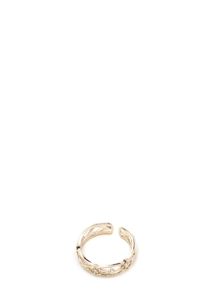 Dainty Beauty Rhinestone Ring GOLD