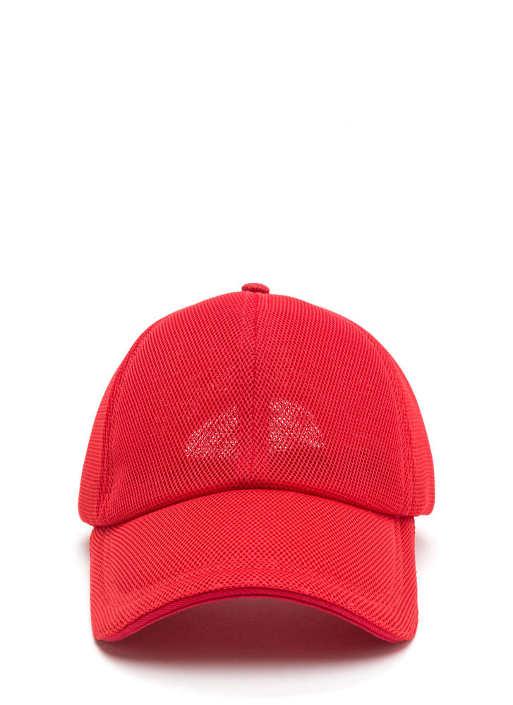 Clean A Mesh Sheer Baseball Hat RED